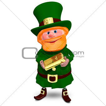 3D Illustration of Saint Patrick with Gold Bullion