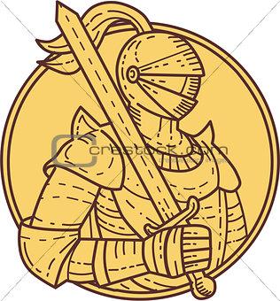 Knight Sword On Shoulder Circle Mono Line