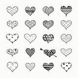 Vector Hand Drawn Heart Shapes with Doodle Patterns