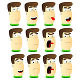 Cartoon Male Avatar set with expression