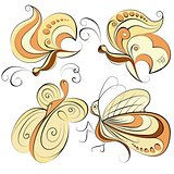 Illustration - four different butterflies on a white background
