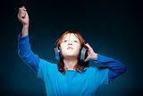 Boy Listening to Music in Headphones