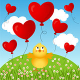 Chick with flying heart balloons background