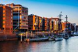 Architecutre of Hamburg at sunset