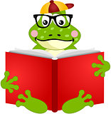 Cute frog reading a book