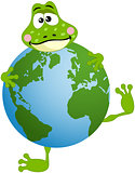 Cute frog with globe