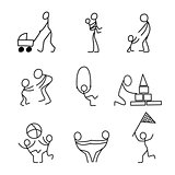 Cartoon icons set of sketch little people in cute miniature scenes.