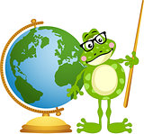 Frog teacher with globe