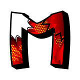 Letter M filled with comic book background.