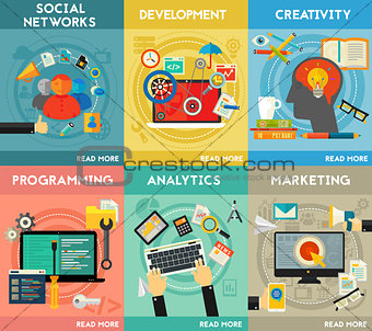 Flat concept banners. Programming, Analytics, Marketing, Social Networks, Development, Creativity