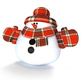 Snowman 3d render illustration isolated on white background
