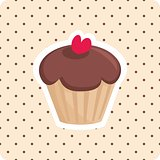Sweet vector cupcake with red cherry and polka dots background