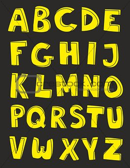 Alphabet letters hand drawn vector set on black background