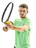 tennis player service serving man isolated