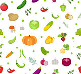 Vegetables seamless pattern. Salad endless background. Healthy lifestyle, vegan, vegetarian diet, raw food. Vector illustration.