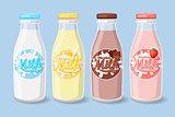 Labels on milk bottles.