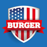 Burger vintage shield with USA flag