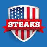 Steaks vintage shield with USA flag