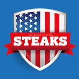 Steaks vintage shield with USA flag