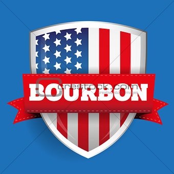 Bourbon ribbon on USA flag shield