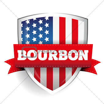 Bourbon ribbon on USA flag shield