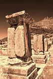 Pillar ruins at Ancient Messini, Messinia, Peloponnese, Greece