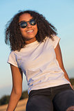 Mixed Race African American Girl Teen Sunglasses Perfect Teeth