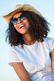 Mixed Race African American Girl Teen Sunglasses Perfect Teeth