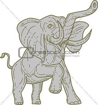 African Elephant Prancing Mono Line