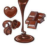 Set of chocolate - heart shaped candy, shaving, bar, liquid