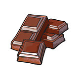 Pieces of dark chocolate bar, isolated vector illustration