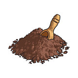 Hand drawn pile of cocoa powder with a wooden scoop