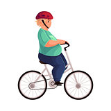 Fat boy cycling, riding a bicycle, wearing helmet