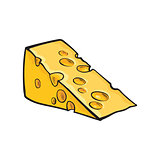 Hand drawn piece of Swiss cheese, sketch style vector illustration