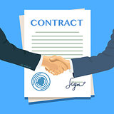 Handshake on the background of the contract