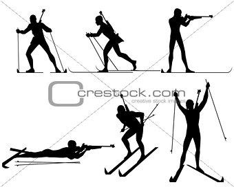 Six biathletes silhouettes