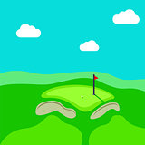 Golf hole vector green tee background illustration