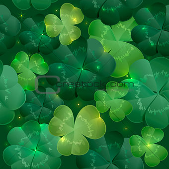 Green lush leaves clover seamless pattern