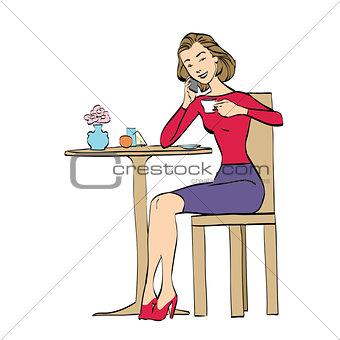 Beautiful woman in cafe drinking coffee