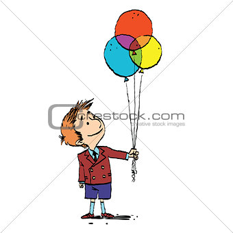 Boy and colorful balloons