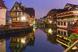 Night Petite France in Strasbourg, Alsace