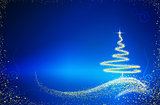 Christmas tree isolated on blue background.