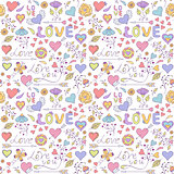 pattern with hearts,flowers and other elements