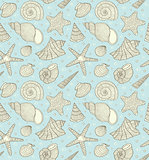 pattern with ocean shells