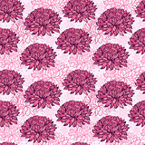 pattern with abstract hand drawn chrysanthemums