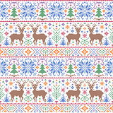 pattern with deers, trees and snowflakes