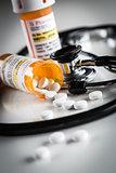 Non-Proprietary Medicine Prescription Bottles and Spilled Pills