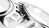 mechanical gear with sharp light and white environment 3d illust