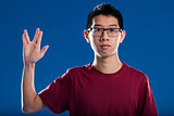 nerd trekkie salutation by an asian guy