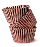 Heap of brown paper cups for baking muffins